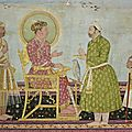 <b>Jahangir</b> offers jewels to Asaf Khan, India, Deccan, probably Golconda, late 17th century