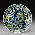 An underglaze-<b>blue</b> <b>and</b> <b>yellow</b>-<b>glazed</b> 'dragon ' dish. Qianlong Seal Mark <b>And</b> Period