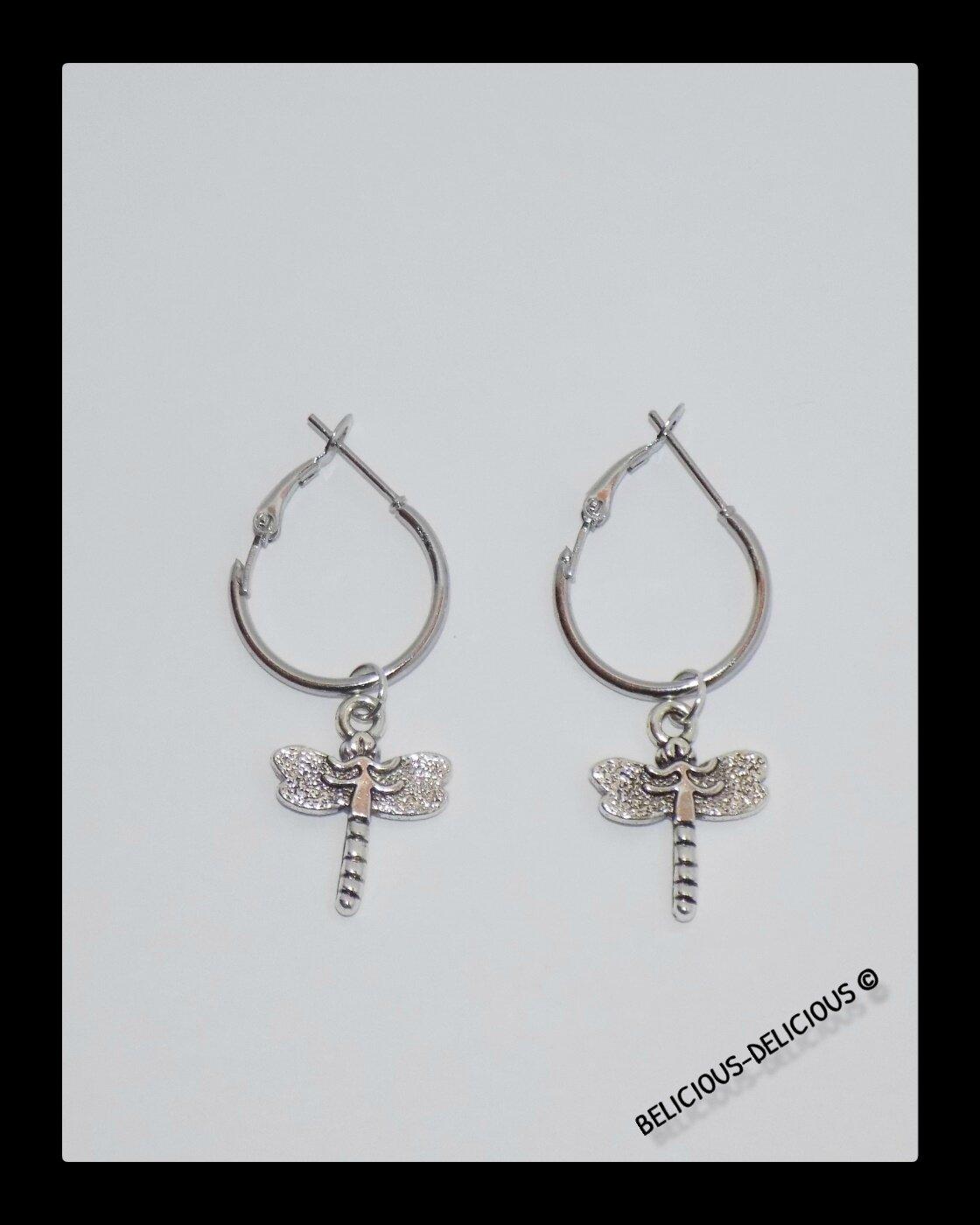 Original Boucles d'oreilles creole pour homme !! DRAGONFLY !! en metal argente T .3.5 cm x 2cm