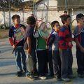 la fila para ejercese al tenis