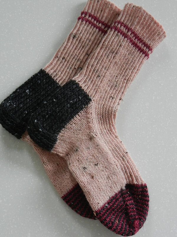 Chaussettes Tweed Rose:Noir:Rouge 2
