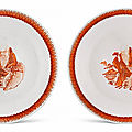 A pair of iron-red enamelled 'Shoulao' <b>dishes</b>, Qing dynasty, 18th century