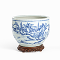 Large Blue & White <b>Porcelain</b> <b>Bowl</b> with Landscape, China, Transitional period, 17th Century