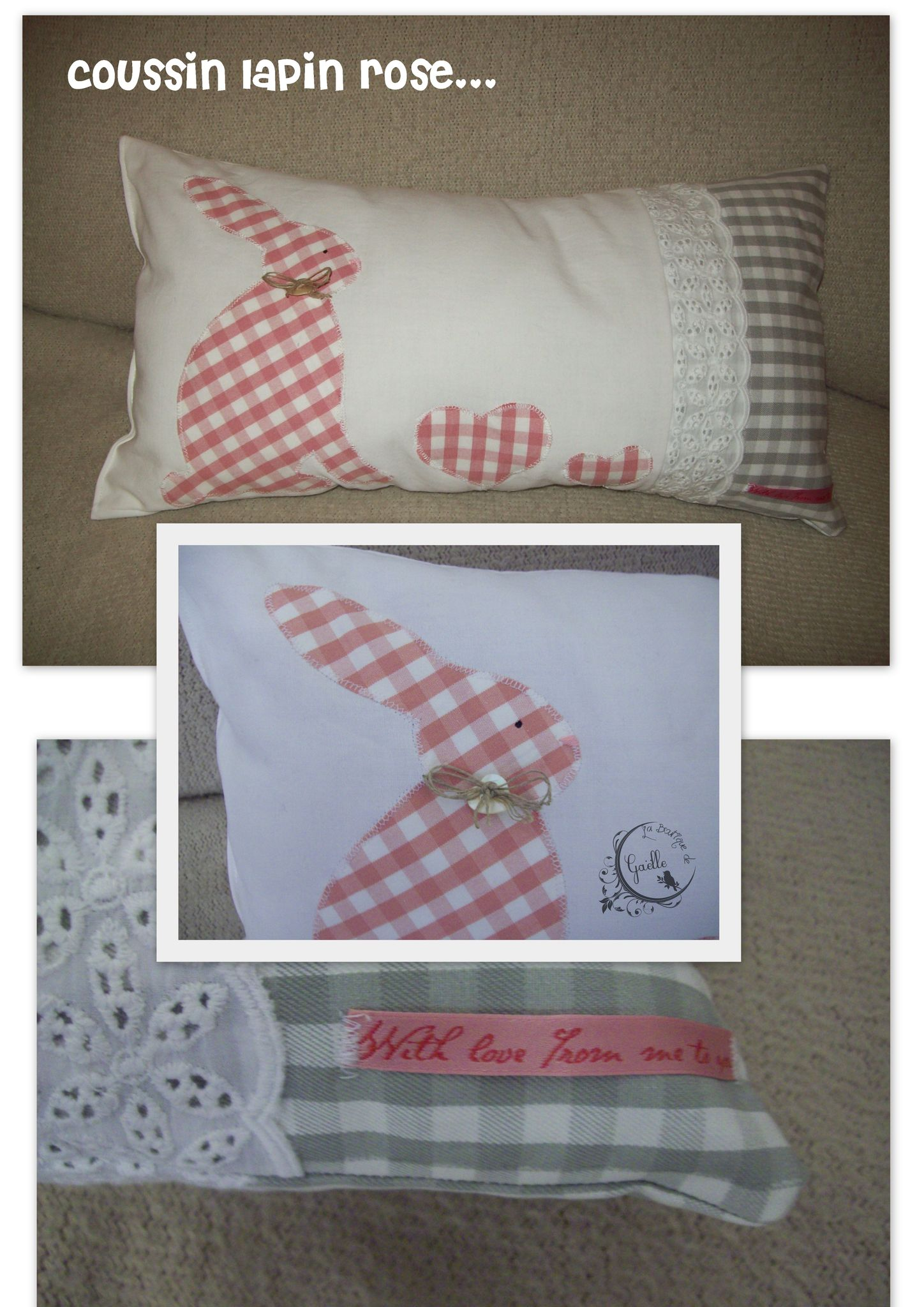 Coussin lapin rose...