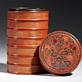 A cinnabar lacquer incised gilt-decorated <b>seven</b>-tiered circular box and cover, Jiajing six-character mark and of the period