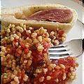 Magrets en croute de pain et ses cereales a la tomate