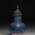 Vase couvert bleu, Iran, 12-<b>13e</b> <b>siècle</b>
