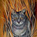 Chat tabby gris dans les herbes Ghislaine Letourneur Peinture sur bois