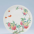An exceptional <b>Imperial</b><b>Famille</b> <b>Rose</b>'Peach' dish, Yongzheng six-character mark within double squares and of the period
