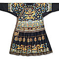 An extremely rare Imperial midnight-blue embroidered silk formal court robe, chaopao , <b>Qianlong</b> <b>period</b> (1736-1795)