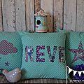 3 housses coussins turquoise violet blanc bleu étoiles nuages chambre décoration bébé enfant fille garçon