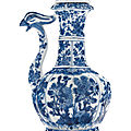 A blue and white phoenix head ewer and <b>cover</b>, Kangxi period (1662-1722)