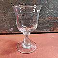 Ancien Verre à Vin Verre Soufflé à Grosses Bulles Collection Bistro / C06-08
