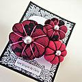 ♥ adelie ♥ broche fleurs potirons les yoyos de calie tissu fuchsia et dentelle noire