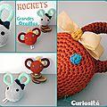 Cadeaux de naissance - Hochet ''Grandes Oreilles'' au Crochet - Lapin & Ours - Fait-main Made in France