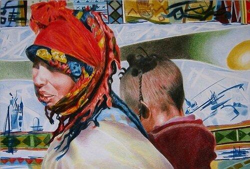 Femme berbère et son bébé