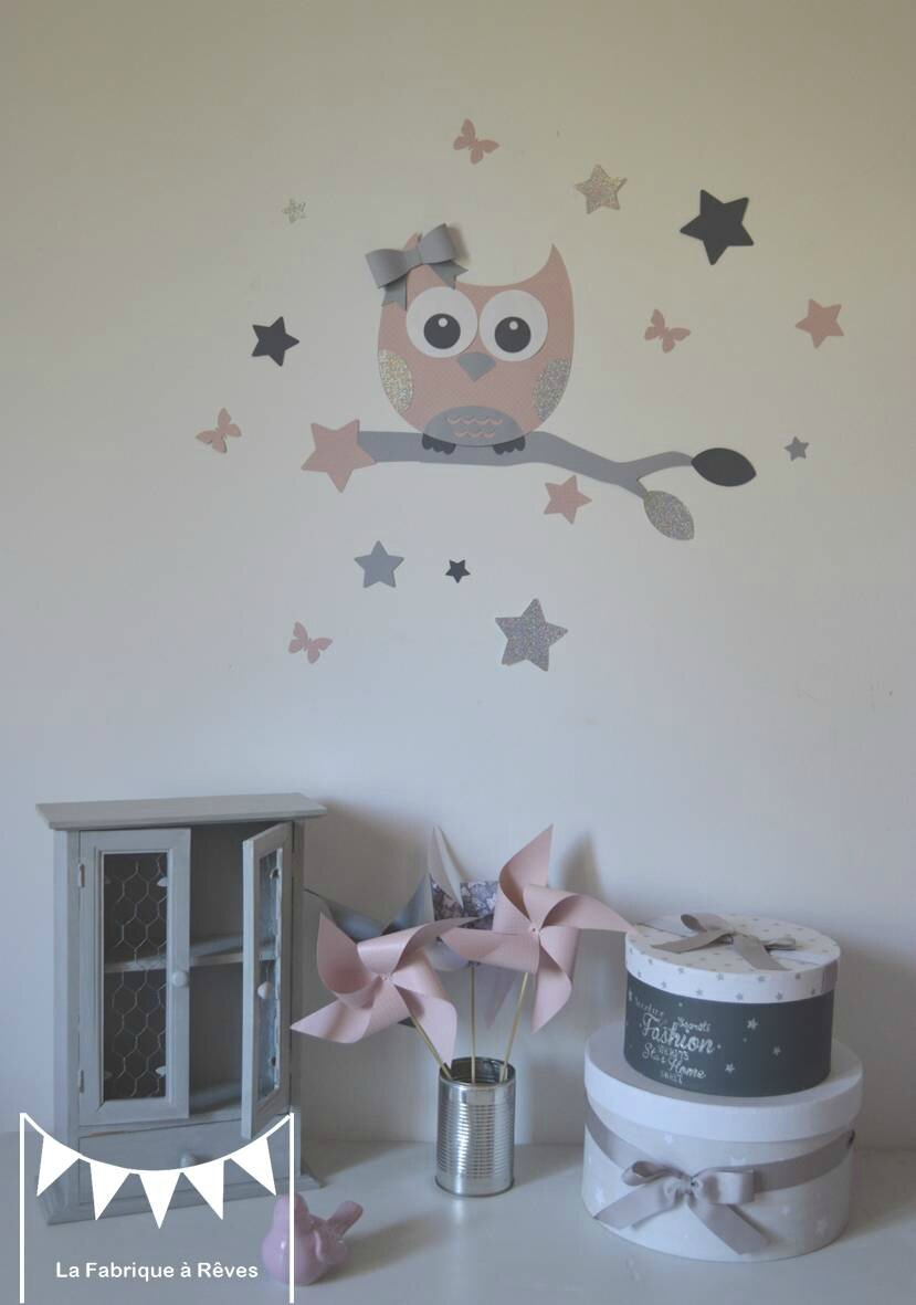 stickers d coration chambre enfant fille b b hibou chouette toiles rose poudr gris argent. Black Bedroom Furniture Sets. Home Design Ideas
