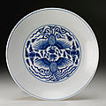 A blue <b>and</b> white 'Phoenix' dish, <b>Guangxu</b> <b>mark</b> <b>and</b> <b>period</b> (1875-1908)