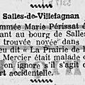 Marie <b>Perissat</b>, retrouvée noyée dans le ruisseau l'obier à Salles-de-Villefagnan