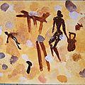 Art primitif 2 gouache et semoule Imitation sables ocres