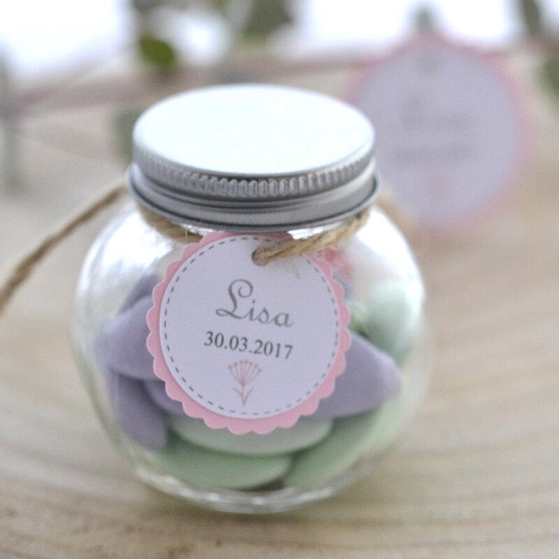 Étiquette double, personnalisée, dragée, cadeau invité, mariage, baptême, cérémonie, moderne, papier rose et blanc modèle pissenlit