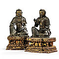 An important and very rare pair of parcel-gilt bronze figures of Bodhisattva, <b>14th</b> <b>century</b>