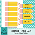 Des étiquettes crayon et un motif fournitures scolaires (à imprimer - gratuit)