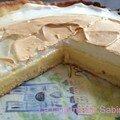 Tarte au chocolat blanc et au citron meringuée