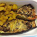 Aubergines et poivrons farcis au boeuf façon indienne avec son curry de patate (dans une prochaine recette)