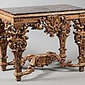Table de milieu en bois doré, France, <b>époque</b> <b>Louis</b> <b>XIV</b>, vers 1690-1700.