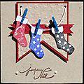 07. kraft, blanc, bleu, rouge, noir - guirlande de chaussettes