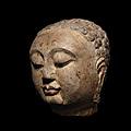 A superb carved polychrome limestone head of Buddha, <b>Sui</b> <b>Dynasty</b> (581-618)