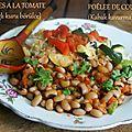 Cornilles à la tomate et poêlée de courgettes (turquie)