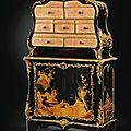 Cartonnier en laque du japon, bois noirci et bronze doré en partie d'époque louis xv